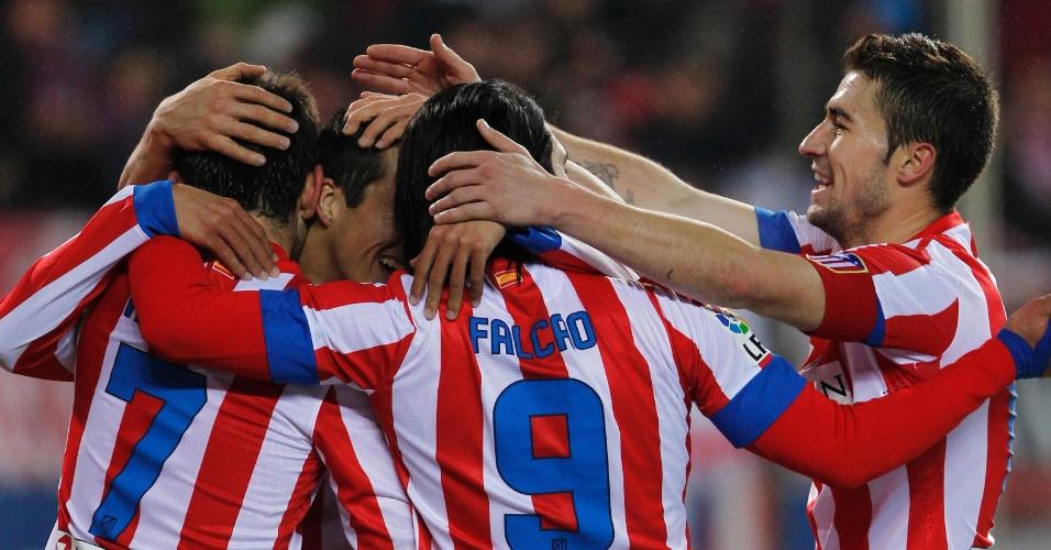 20jan2013 - Jogadores do Atlético de Madri na vitória sobre o Levante
