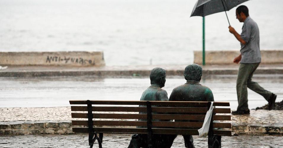 22.jan.2013 - Chuva cai sobre estátuas de Jorge Amado e Zélia Gattai no bairro do Rio Vermelho, em Salvador, na manhã desta terça-feira (22). As chuvas que caem na capital baiana desde a madrugada devem persistir até o final do dia, conforme previsão do Instituto Nacional de Meteorologia (Inmet). Segundo o órgão, a expectativa é de tempo nublado acompanhado de pancadas de chuvas e trovoadas. A temperatura varia entre 24ºC e 31ºC