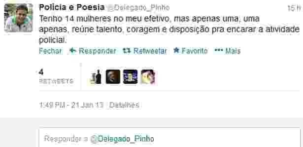 Comentário feito pelo delegado Pedro Paulo Pontes Pinho no Twitter causou polêmica. Ele acabou sendo exonerado do cargo de titular da 9ª DP do Rio de Janeiro - Reprodução/Twitter