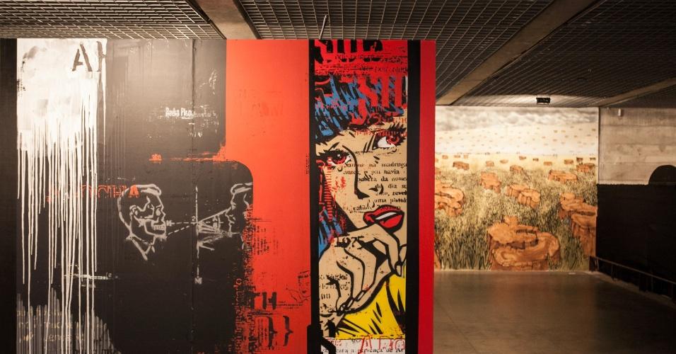 22.jan.2013 - Instalações da 2ª Bienal Internacional Graffiti Fine Art, que acontece no Museu Brasileiro da Escultura (MuBE), na avenida Europa, zona oeste da capital paulista, que abre para o público nesta terça-feira (22). A mostra, que reúne obras de mais de 50 artistas brasileiros e estrangeiros, fica em cartaz até o dia 17 de fevereiro