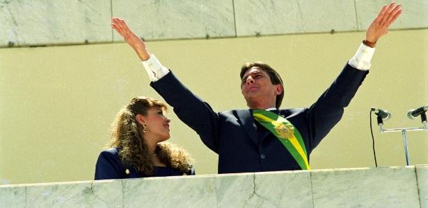 Fernando Collor de Mello, ao lado de sua mulher, Rosane, durante cerimônia de posse