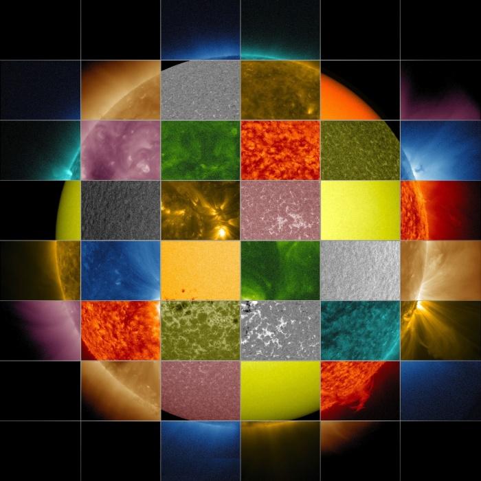 """23.jan.2013 - A Nasa (Agência Espacial Norte-Americana) divulgou um mosaico de imagens do Sol para ilustrar como são feitas as observações em diferentes comprimentos de onda do astro. Nós sempre o enxergamos bem amarelado a olho nu, porque ele é uma bola de gás quente - e o calor produz tanta luz quanto uma lâmpada incandescente -, mas ele tem outras """"cores"""", quando emite ondas ultravioletas e em raios X (ou seja, além das faixas visíveis para o olho humano. Segundo os astrônomos, essas diferenças ocorrem porque os átomos do Sol (hélio, ferro e hidrogênio, por exemplo) têm diferentes cargas elétrica (íons) que liberam luz em comprimentos de onda para cada temperatura"""
