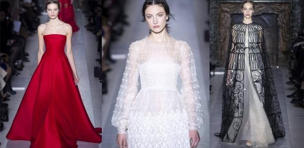 O tradicional vermelho da Valentino foi usado na coleção de Verão 2013 de alta-costura da marca, ao lado de looks brancos e pretos (23/01/2013) - EFE
