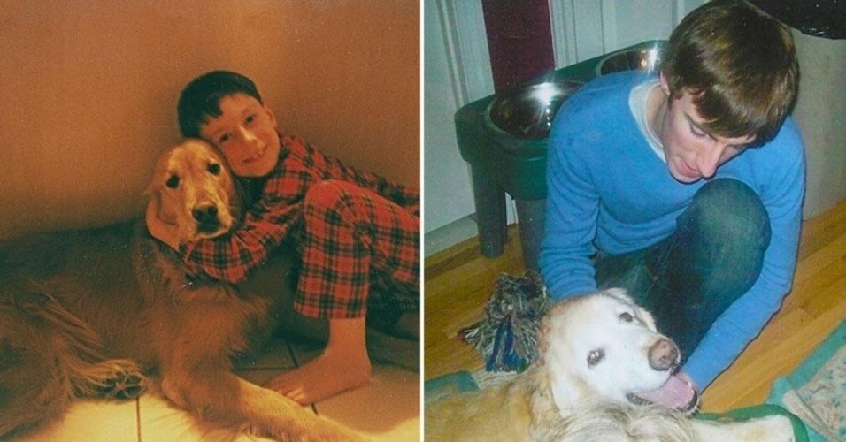 Donos tiram fotos com bichinhos de estimação na infância e na vida adulta... de ambos