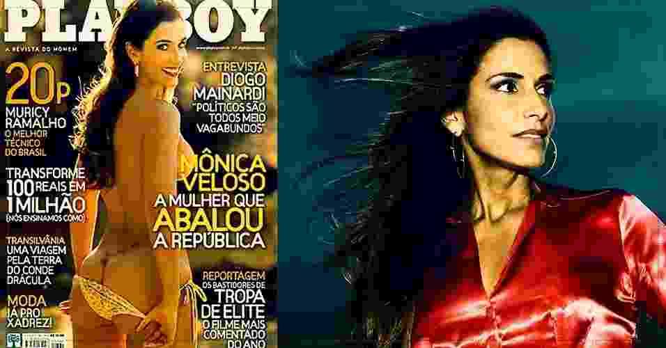 Jornalista Mônica Veloso, ex-namorada do senador Renan Calheiros, lançou Playboy em 2007 - Divulgação e Bruno Miranda - 2.out.2007/Folhapress