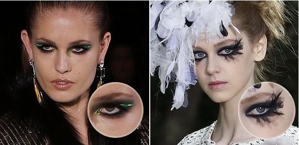 Versace e Chanel exibem olhos pretos na maquiagem durante semana de moda de Paris - Getty Images e AFP/ Francis Guillot