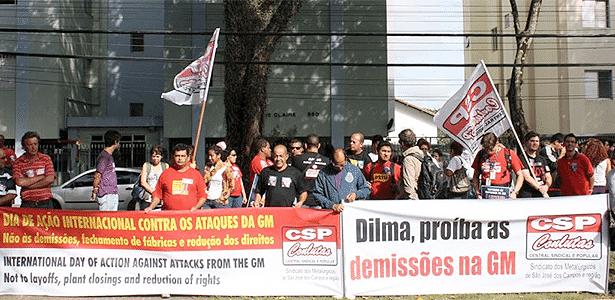 Sindicato que representa trabalhadores da GM protesta contra possíveis demissões em fábrica de SP - Divulgação