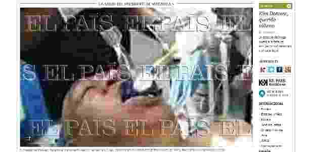 """Falsa imagem de Chávez entubado foi divulgada com destaque na versão online do jornal """"El País"""" - Reprodução/ElPaís.com"""