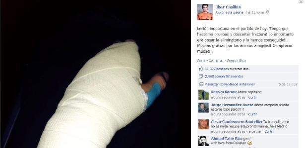 Casillas postou foto de mão enfaixada após sofrer fratura na partida contra o Valencia