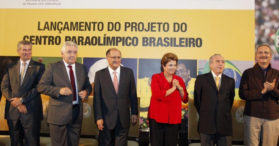25.jan.2013 - A presidente Dilma Rousseff participa de cerimônia de lançamento do projeto do Centro Paraolímpico Brasileiro, localizado no Parque Fontes do Ipiranga, na cidade de São Paulo