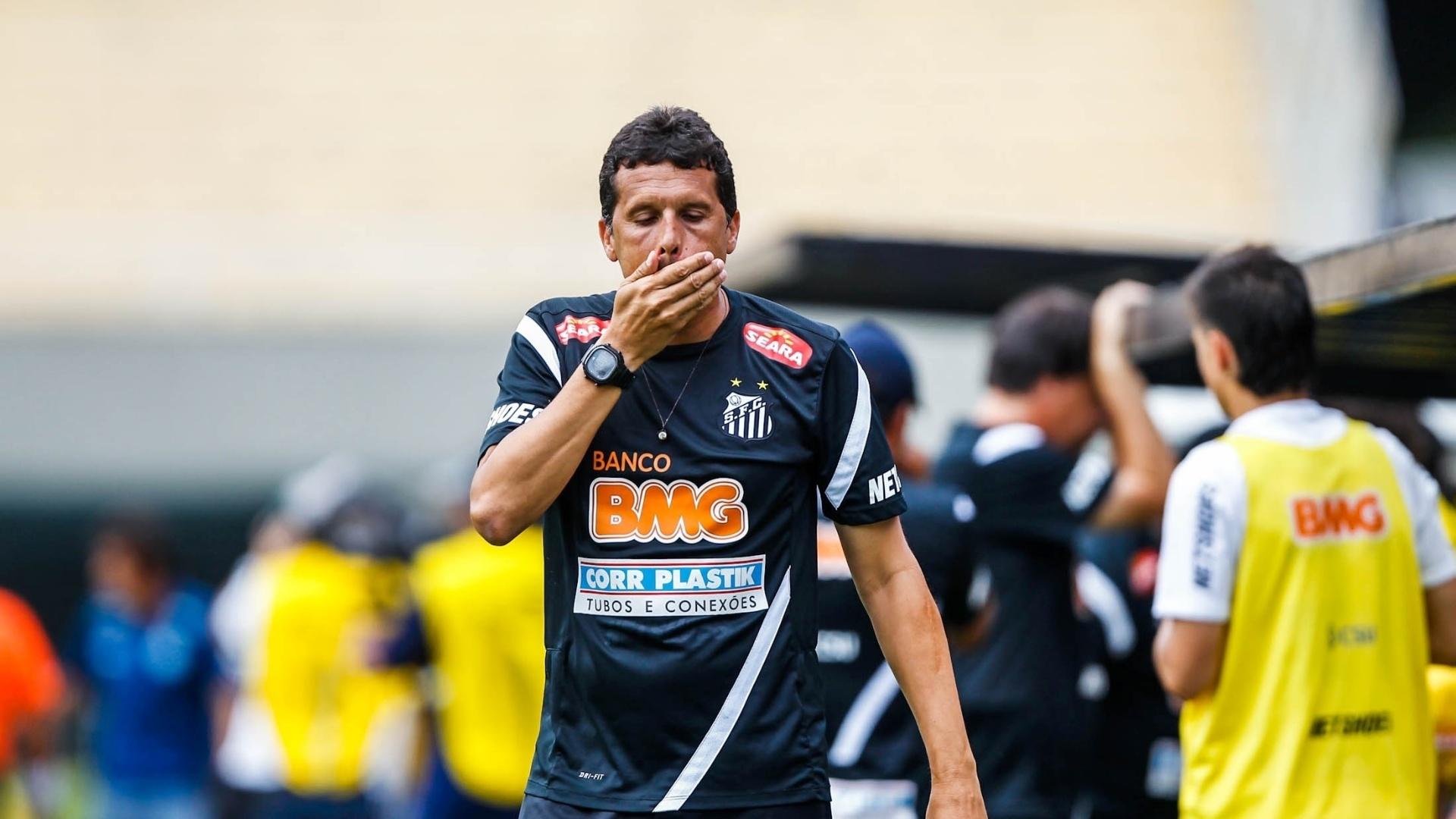 25.jan.2013 - Técnico Claudinei Oliveira lamenta o gol do Goiás no começo do 2° tempo