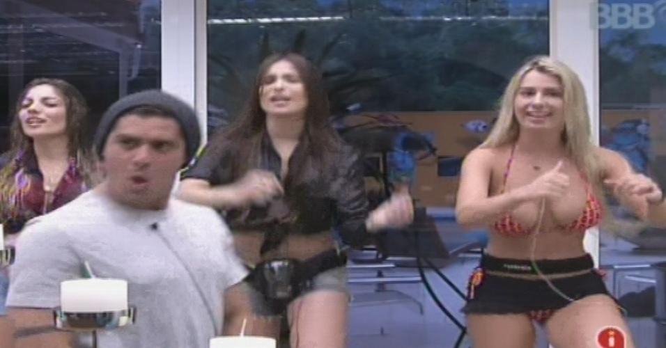"""25.jan.2013 - Yuri, Anamara, Kamilla e Fernanda fazem coreografias do É o Tchan na cozinha. O grupo das meninas foi apelidado pela advogada de """"As Yuriquetes"""""""