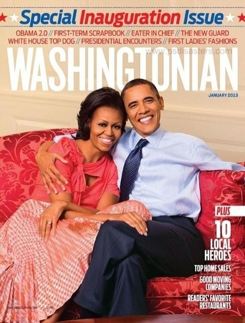 A foto de capa da revista ''Washingtonian'' sobre a posse ao segundo mandato de Barack Obama nos Estados Unidos aparentemente é natural. Mas a curvatura anormal do braço direito do presidente abraçando sua esposa, Michelle, denuncia o uso do Photoshop