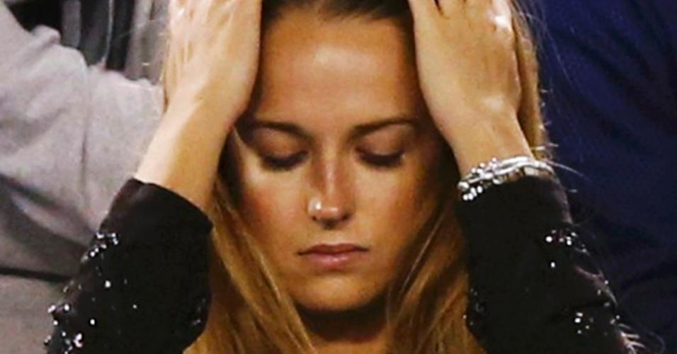 27.jan.2013 - Namorada de Andy Murray, Kim Sears lamenta a derrota do britânico para Novak Djokovic na final do Aberto da Austrália