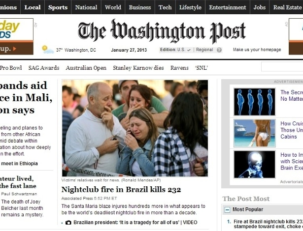 "27.jan.2013 - O americano ""Washington Post"" deu destaque no meio de sua página principal, com foto dos familiares das vítimas"