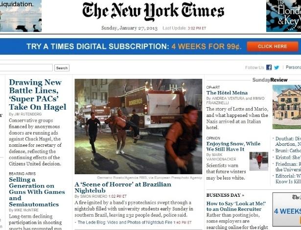 """27.jan.2013 - O jornal """"The New York Times"""" intitulou o destaque em sua página principal sobre o incêndio em Santa Maria (RS) como """"uma cena de horror em boate brasileira"""""""