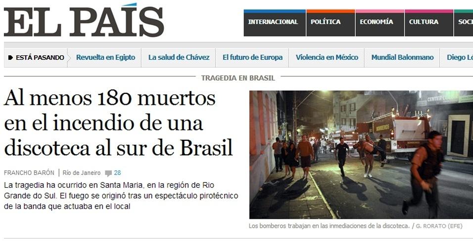 """27.jan.2013 - O site do jornal espanhol """"El País"""" deu manchete principal às mortes no interior do Rio Grande do Sul"""