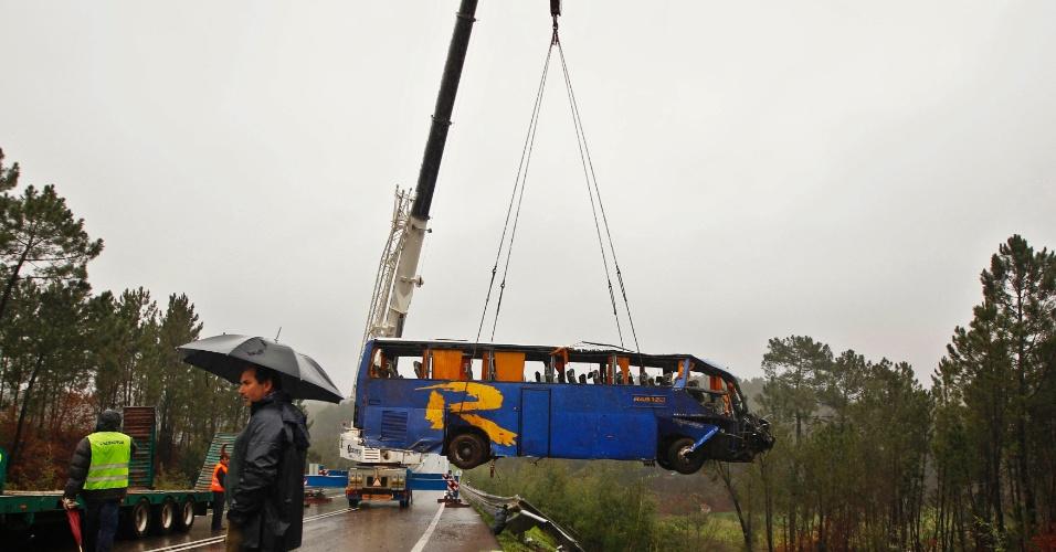 Ao menos dez pessoas morreram e outras 33 ficaram feridas após um ônibus cair de um barranco no centro de Portugal
