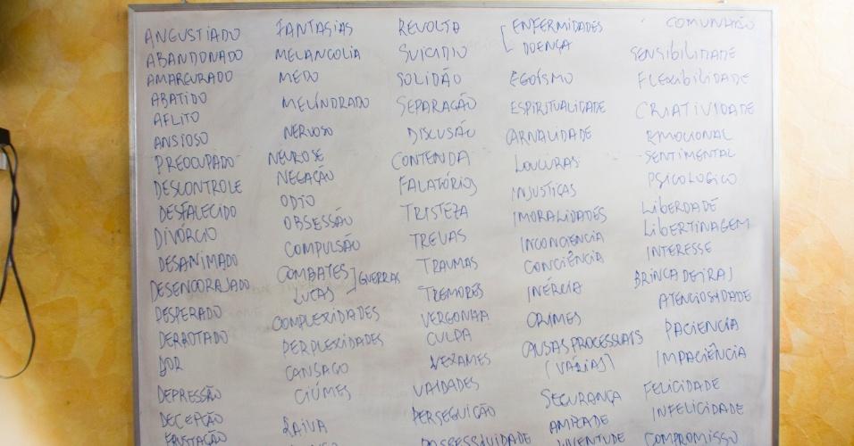 28.jan.2013 - A lousa do auditório foi preenchida com palavras como 'dor', 'revolta', solidão e 'suicídio'