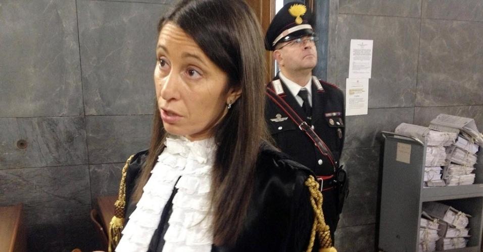 28.jan.2013 - Paola Rubini, advogada da equipe do ex-premiê Silvio Berlusconi, no tribunal de Milão, onde é julgado o caso Ruby