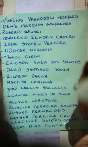 28.jan.2013- Lista com os nomes das vítimas do incêndio na boate Kiss, em Santa Maria (RS), que estão sendo veladas no ginásio do Centro Desportivo Municipal