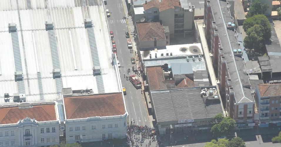 28.jan.2013- Vista aérea da rua das Andradas, em Santa Maria (rs), onde está localizada a boate Kiss. Na madrugada de domingo (27), um incêndio no local provocou a morte de mais de 230 pessoas