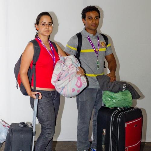 Andressa Ferreira, 19, e Cassiano Domingos, 24, de Santa Rita do Sapucaí (MG), estão na primeira Campus Party e, sem ter comprado o kit de alimentação, reservaram uma mala só para guloseimas