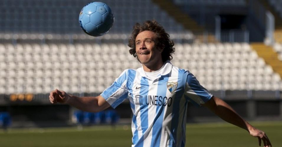 23.jan.2013 - Zagueiro uruguaio Diego Lugano é apresentado pelo Málaga, da Espanha