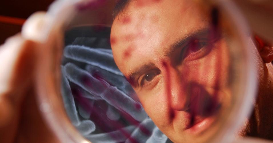 29.jan.2013 - Kostas Konstantinidis, professor do Instituto de Engenharia da Georgia, nos Estados Unidos, mostra bactérias encontradas na atmosfera que podem afetar clima do planeta e alastrar doenças