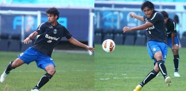 Montagem com os centroavantes Willian José e Marcelo Moreno em treinamento na Arena do Grêmio (28/01/2013)