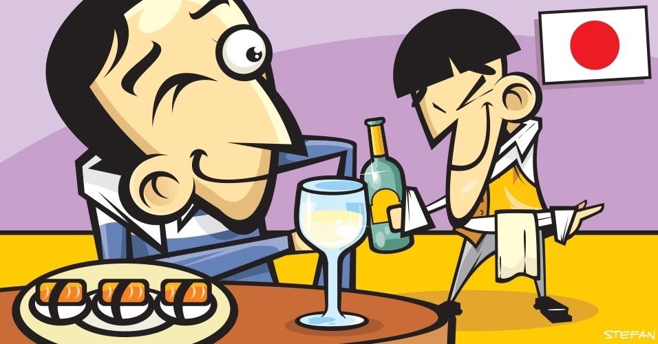 Os japoneses não deixam o copo dos convidados vazio quando estão confraternizando em bares ou em restaurantes. Para não sair completamente bêbado, aconselha-se deixar a bebida sempre pela metade do copo