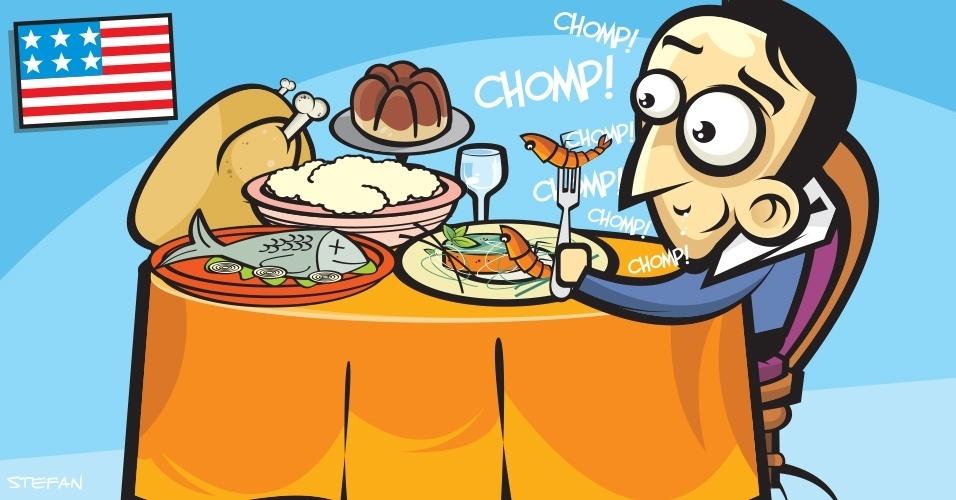 Nos EUA, se você é convidado para um almoço ou jantar, e apareceu um amigo de última hora na sua casa, nem pense em levar o bicão junto. Não é como no Brasil onde ?sempre cabe mais um?. Ao contrário, pega muito mal. As refeições, em geral, costumam ser servidas no prato e não incluem repetição. Só peça se os demais fizerem o mesmo