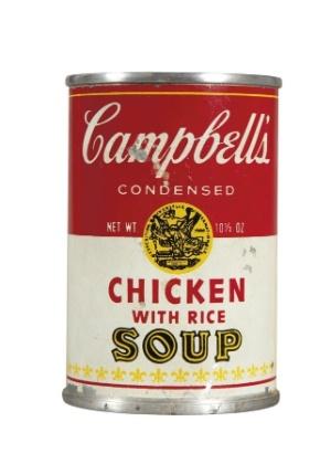 """Obra de Andy Warhol reproduzindo lata de sopa Campbell´s, que será leiloada on-line pela Christie""""s - Christie""""s/AP"""