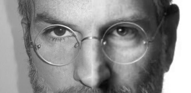 Montagem com os rostos de Steve Jobs e do ator Ashton Kutcher