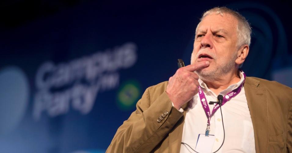 30.jan.2013 - Nolan Bushnell, fundador da Atari, dá palestra na Campus Party, evento de tecnologia em São Paulo. Ele contou que recusou uma oferta de Steve Jobs para ser sócio da Apple, logo que a empresa foi criada