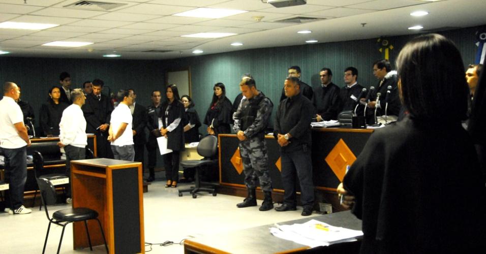 30.jan.2013 - Policiais militares Júnior Cesar de Medeiros, Jeferson Araújo e Jovanis Falcão Junior são julgados e condenados, acusados participar do assassinato da juíza Patrícia Acioli. Todos eles foram considerados culpados, com penas variando entre 22 e 26 anos de prisão