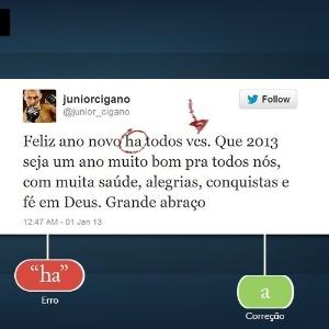 """O lutador Júnior Cigano precisa de treino na arena do português. Aqui ele confundiu a preposição """"a"""" com a flexão """"há"""", do verbo haver. Confira mais erros de celebridades"""