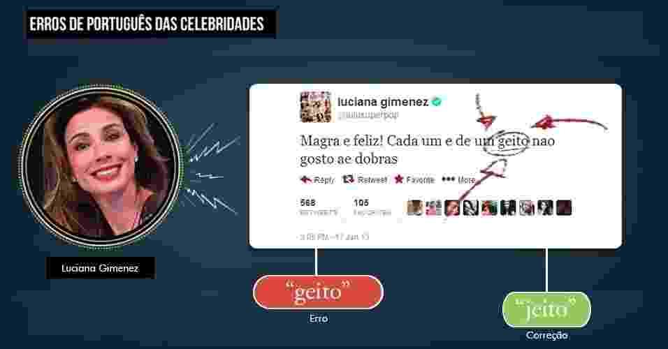 """No início de 2013, a apresentadora Luciana Gimenez voltou a causar polêmica com um erro de português no twitter. """"Trollada"""" por escrever """"jeito"""" com G, ela se revoltou: """"jeito com G se eu quiser no twitter que é meu"""" - Arte/UOL"""