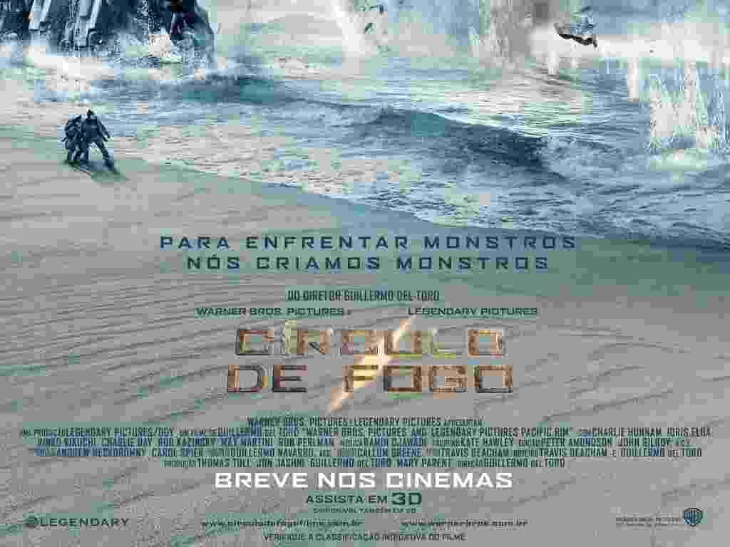 """Pôster oficial de """"Círculo de Fogo"""", longa de ficção científica dirigido por Guillermo del Toro com estreia prevista para 9 de agosto, que mostra um robô Jaeger ajoelhado na praia; na trama, os Jaeger combatem criaturas monstruosas chamadas Kaiju. - Divulgação"""