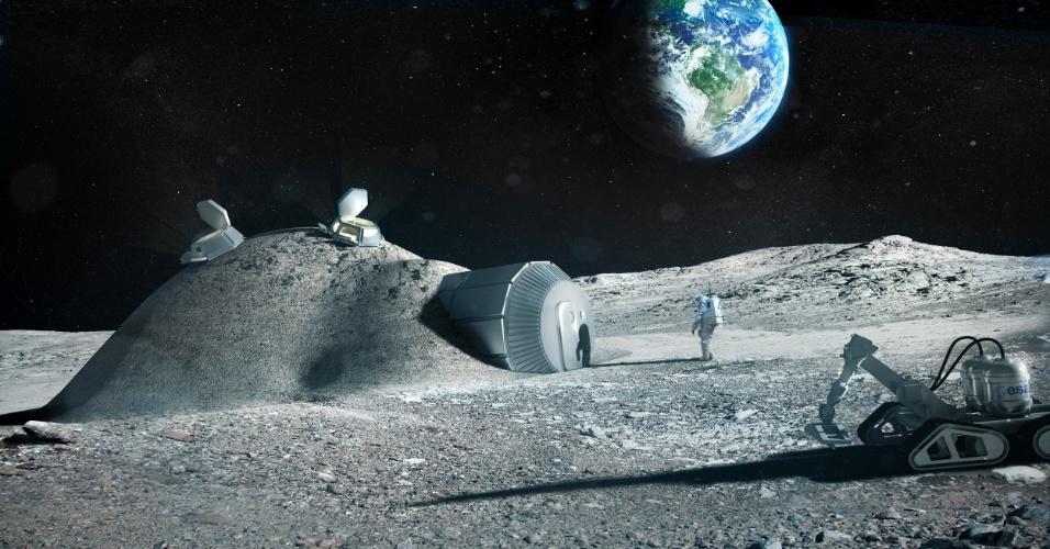 """1.fev.2013 - Uma impressora 3D pode facilitar a construção de uma futura base lunar a partir de materiais """"locais"""", como o solo e as rochas do satélite. Esta é a nova proposta da Agência Espacial Europeia (ESA, na sigla em inglês), que já conta com o escritório de arquitetura Foster + Partners, responsáveis pelos croquis (acima), como parceiros para testar a viabilidade. Laurent Pambaguian, que lidera o projeto da ESA, explica que os módulos tubulares da base podem ser levados de foguete e, depois de inflados, receber uma camada protetora de regolito (restos de materiais compactos e fragmentos de rochas e de solo que cobrem a Lua). Esse escudo, que vai proteger os astronautas da radiação do espaço. seria construído pela técnica de impressão 3D e """"rebocado"""" por um robô"""