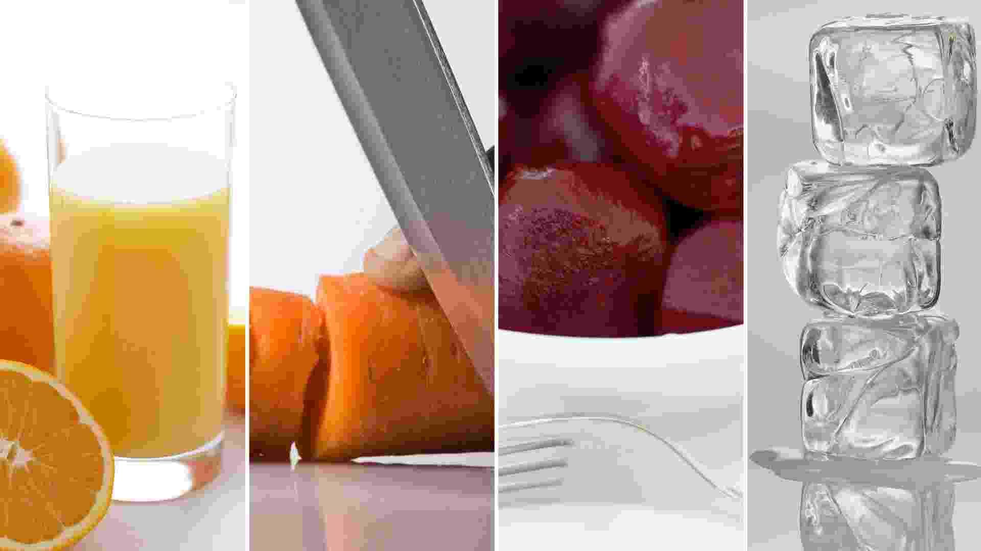 """Arretado! Ingredientes: 1 copo de suco de laranja, 1 cenoura média, 1/2 beterraba crua, cubos de gelo. Modo de Preparo: esprema a laranja e bata no liquidificador, juntamente com a cenoura, a beterraba e os cubos de gelo. Importante: """"Tome logo em seguida para que a vitamina C não seja oxidada"""". (Por Mariana Daltro) - Getty Images"""
