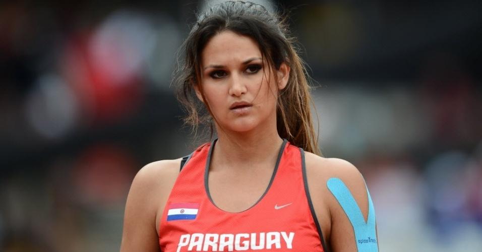 Leryn Franco, musa paraguaia do lançamento de dardo, durante a disputa nos Jogos Olímpicos de Londres