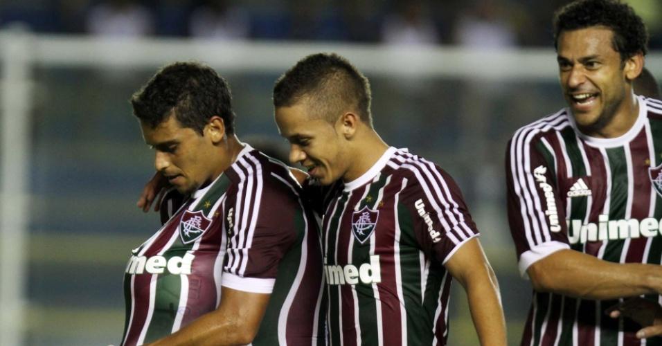 02.fev.2013- Jogadores do Flu comemoram gol marcado por Jean (e.) em jogo contra o Quissamã pelo Campeonato Carioca