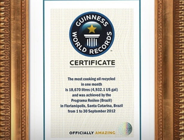 5.fev.2013 - Florianópolis, capital de Santa Catarina, entrou para o Guinness Book ao reciclar a maior quantidade de óleo vegetal em um mês. O programa ReÓleo, da Acif (Associação Comercial e Industrial de Florianópolis), recolheu mais de 18,5 mil de óleo de cozinha usado no mês de setembro de 2012. O recorde será publicado na edição 2014 do livro, segundo a associação