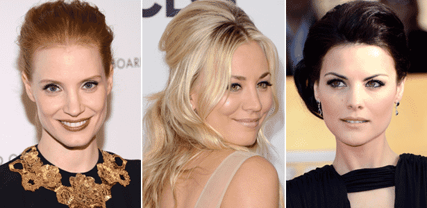 Jessica Chastain, Kaley Cuoco e Jaimie Alexander apareceram recentemente em premiações com fios texturizados, ondas glam e volume na raiz - Getty Images