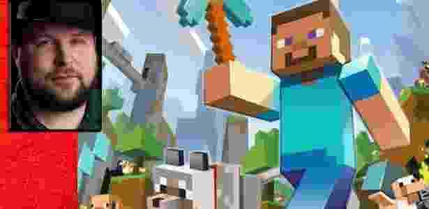 """Carregando seu típico chapéu por onde vai, Notch fez fortuna com """"Minecraft"""" - Montagem/UOL"""