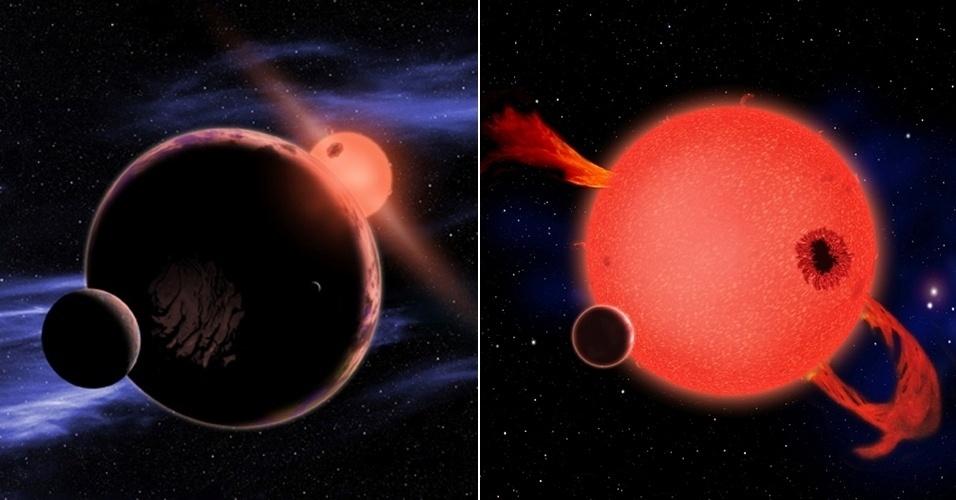 6.fev.2013 - Astrônomos descobriram que 6% das estrelas-anãs vermelhas possuem na sua zona habitável um planeta similar à Terra. Como esse tipo de estrela é bastante comum na Via Láctea, o estudo do departamento de Astrofísica da Universidade de Harvard, nos Estados Unidos, indica que, estatisticamente, um planeta como o nosso pode estar a apenas 13 anos-luz de distância, bem mais perto do que se pensava. Acima, ilustrações mostram um desses planetas com condições de abrigar vida (à esquerda) e uma estrela-anã vermelha, que expelem material na juventude (à direita)