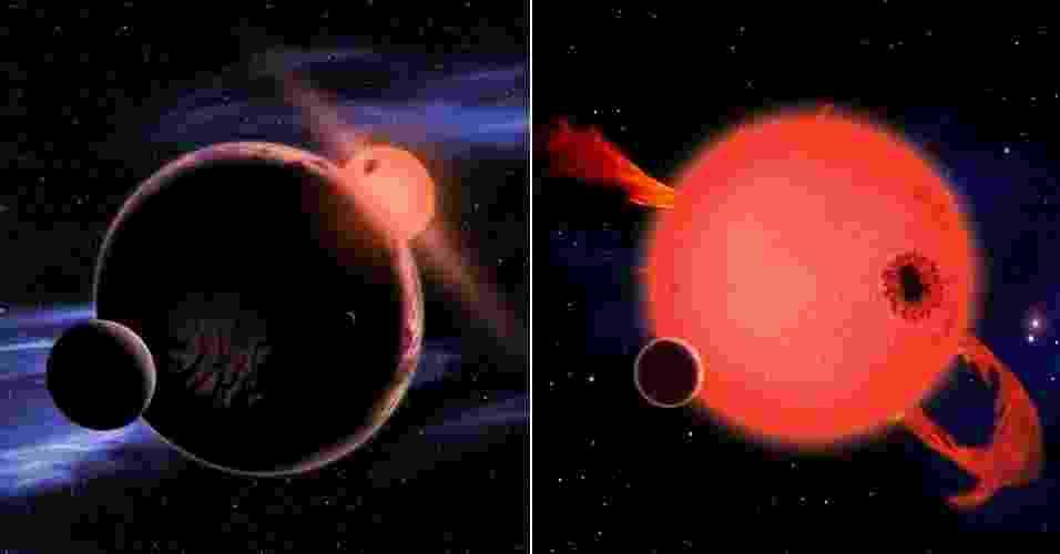 6.fev.2013 - Astrônomos descobriram que 6% das estrelas-anãs vermelhas possuem na sua zona habitável um planeta similar à Terra. Como esse tipo de estrela é bastante comum na Via Láctea, o estudo do departamento de Astrofísica da Universidade de Harvard, nos Estados Unidos, indica que, estatisticamente, um planeta como o nosso pode estar a apenas 13 anos-luz de distância, bem mais perto do que se pensava. Acima, ilustrações mostram um desses planetas com condições de abrigar vida (à esquerda) e uma estrela-anã vermelha, que expelem material na juventude (à direita) - David A. Aguilar/CFA