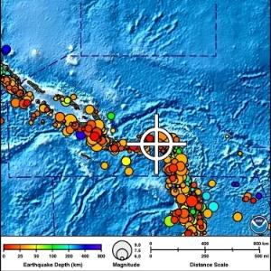 Boletim divulgado pelo Serviço de Alerta de Tsunamis do Pacífico mostra área afetada pelo alerta de tsunami que se seguiu ao terremoto