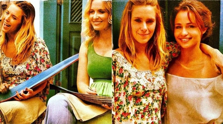 """6.jan.2013 - Carolina Dieckmann e Nanda Costa gravaram participação no programa """"Estrelas"""", de Angélica, que está sendo rodado em Paraty, no Rio"""